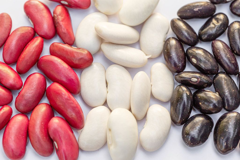 Red, white and black beans closeup