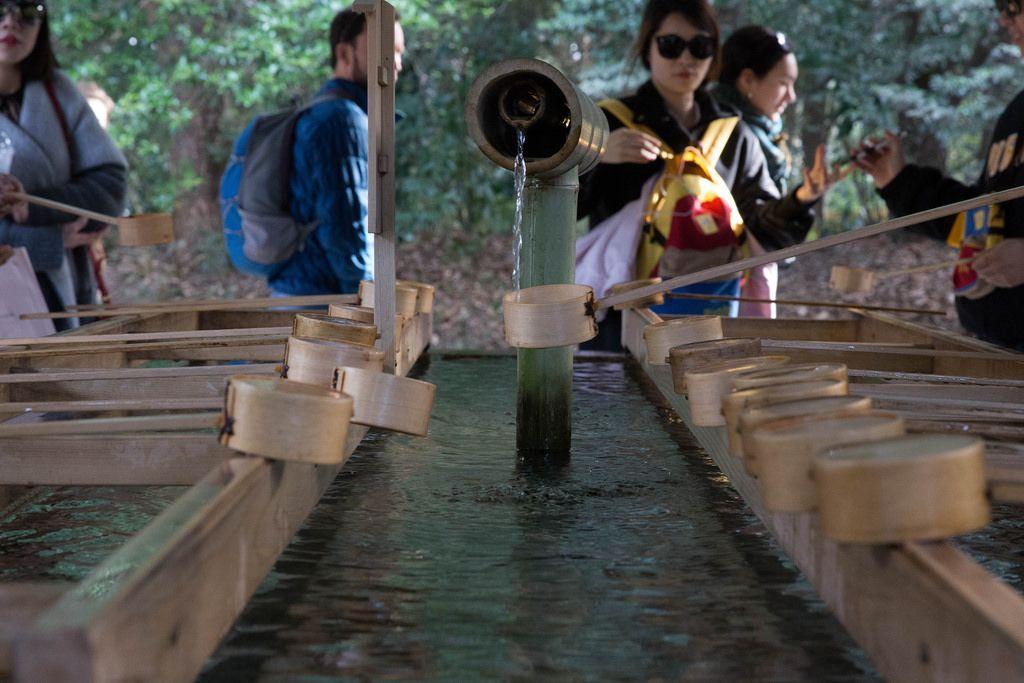 Reinigungsritual im Meiji-Schrein, Tokyo