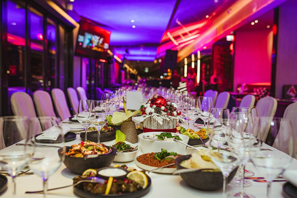Restaurant Holiday Christmas Table Serving For Event