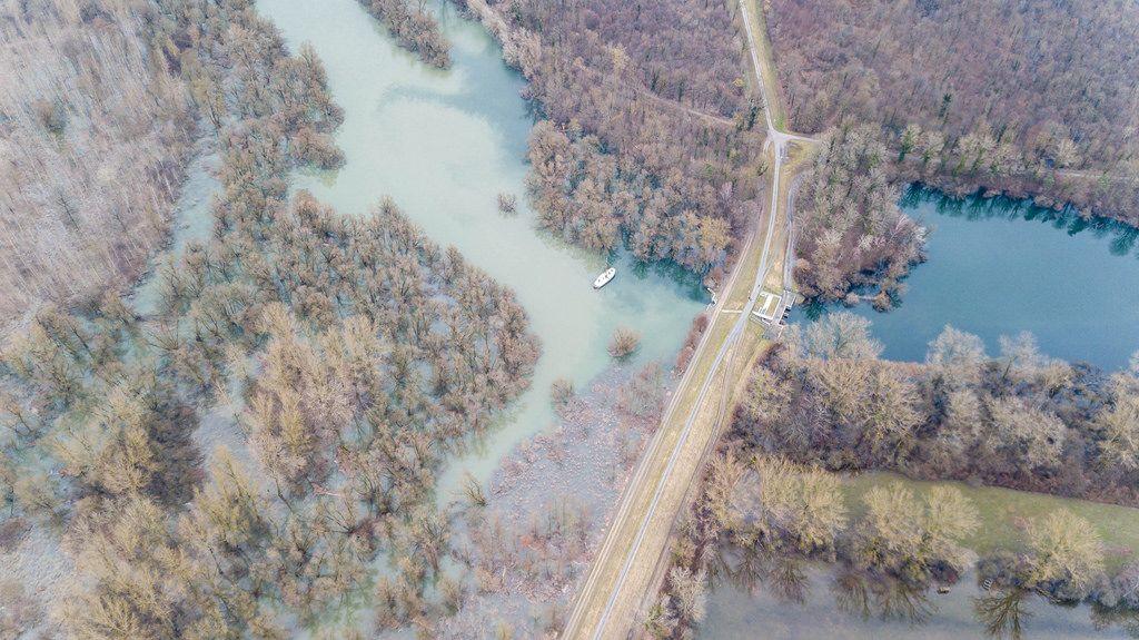 Rheinaue bei Wintersdorf, Luftbildaufnahme