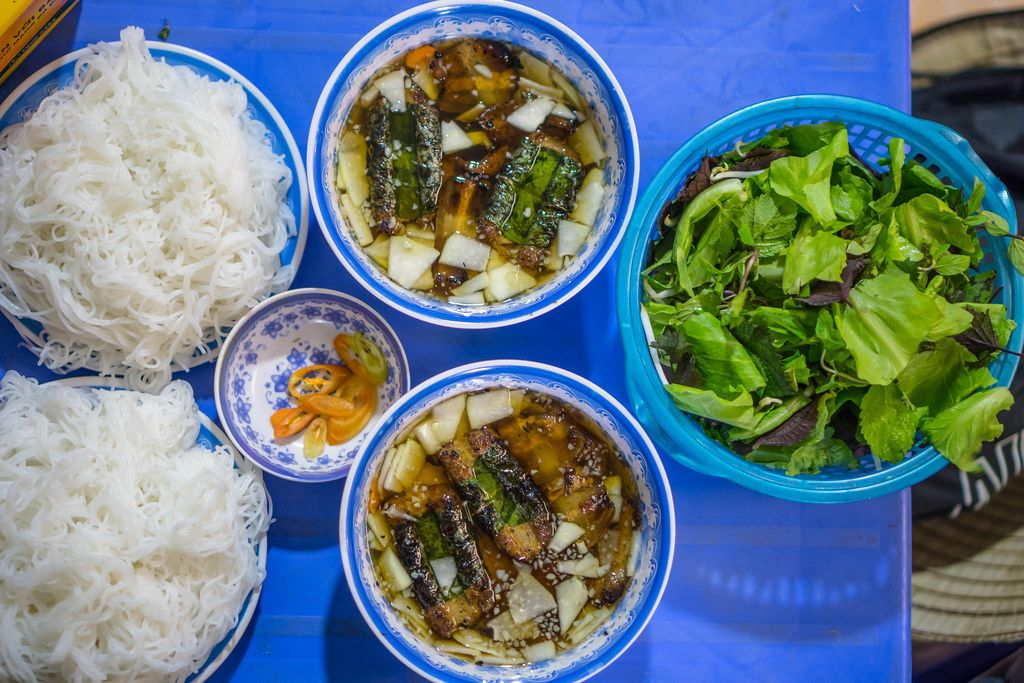 Rice Noodles with Marinated Pork Bun Cha in Hanoi