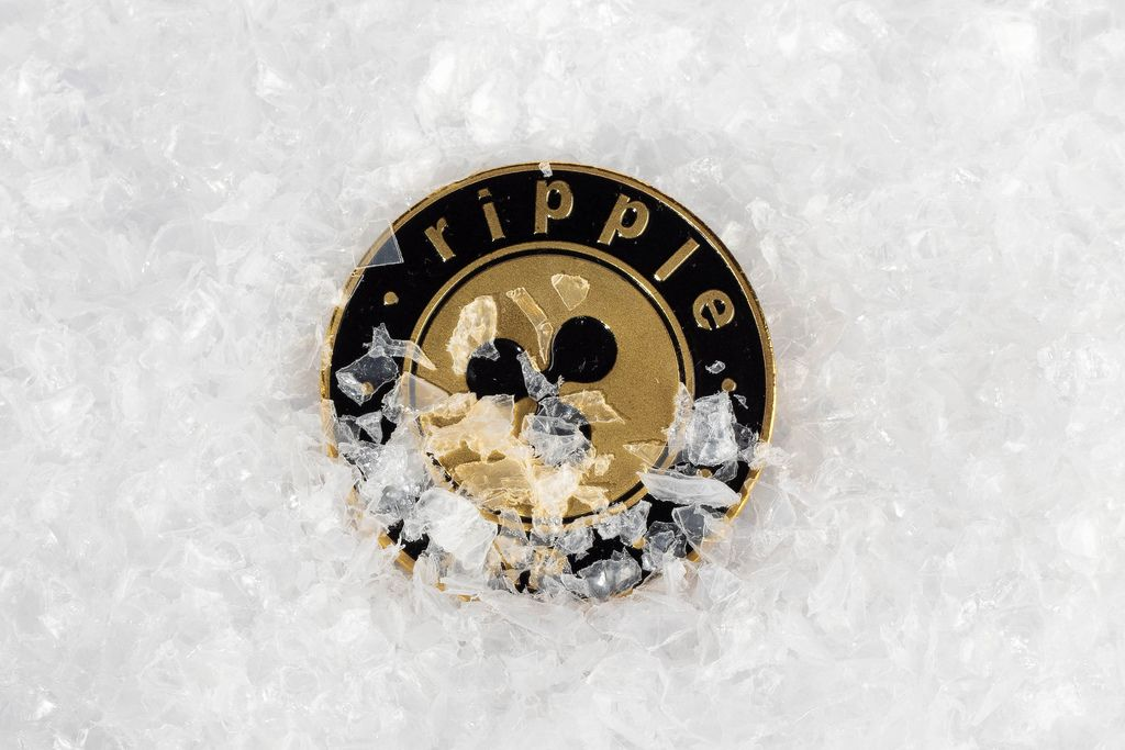 Ripple coin covered with snow
