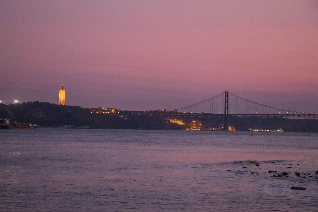 River Tagus with Ponte 25 de Abril and Cristo Rei