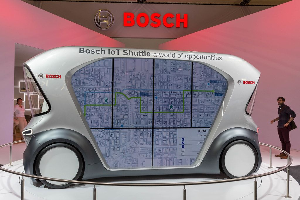 Road map on the window area of Bosch IoT driverless Shuttle for autonomous driving