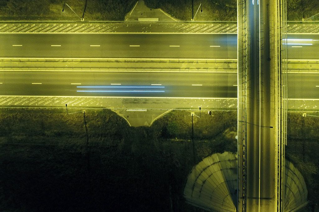 Roads and highway seen from above, night lights