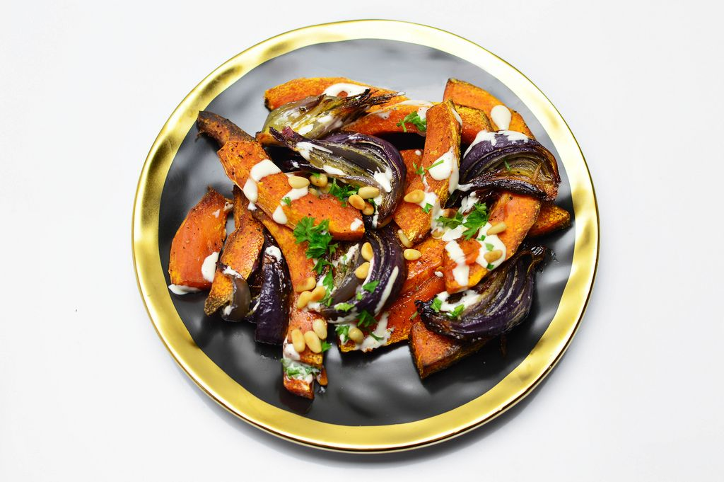 Roasted pumpkin with red onion