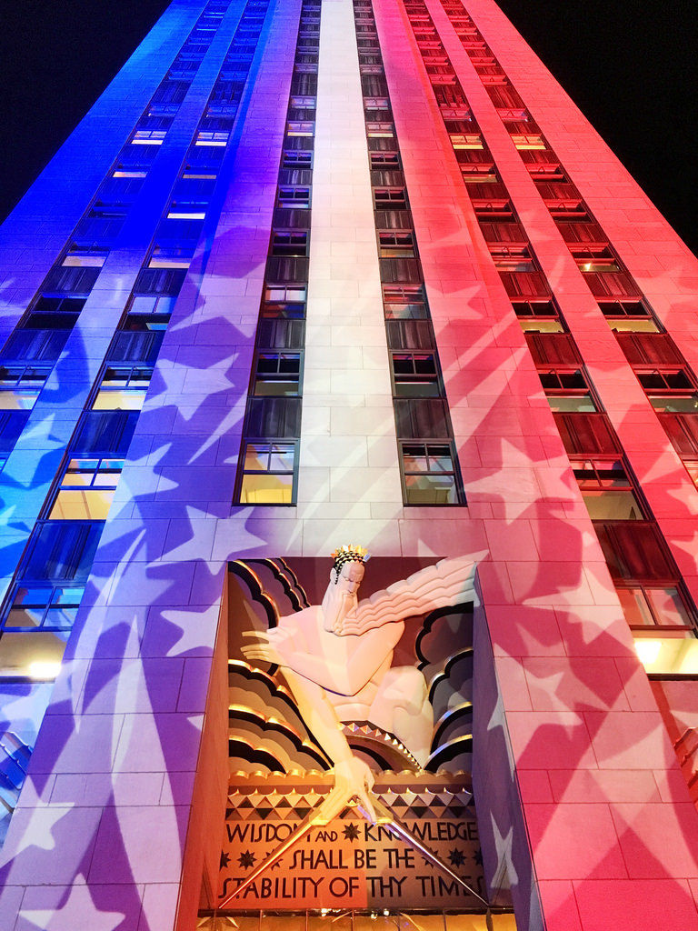 Rockefeller Center during Election Day: Democrazy Plaza