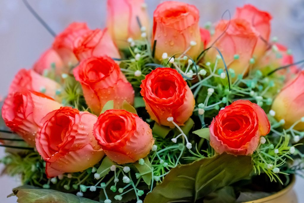 Roses in artificial flower bouquet