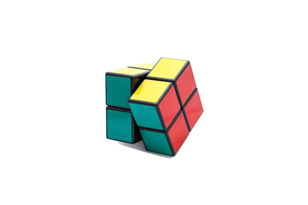 Rotated Rubik's cube 2x2x2 on white background (Flip 2019)