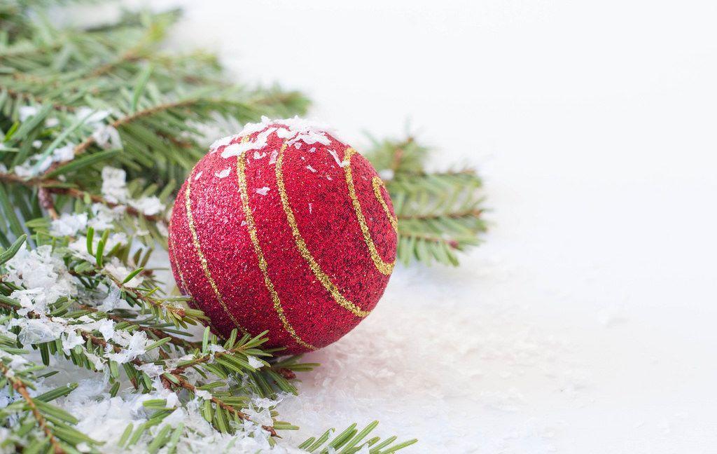 Rote Weihnachtsbaumkugel und ein Ast bedeckt mit Kunstschnee
