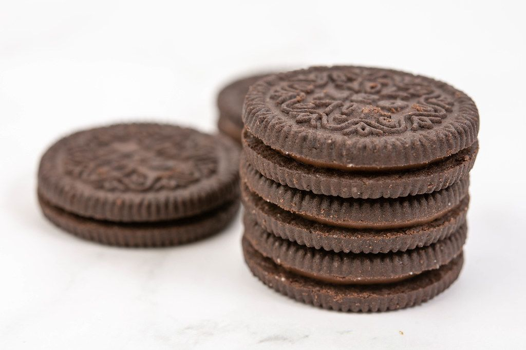 Round Chocolate Biscuits on the white background (Flip 2019) (Flip 2019) (Flip 2019)