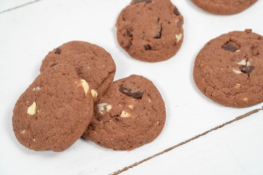 Round Chocolate Cookies on the wooden table (Flip 2020)