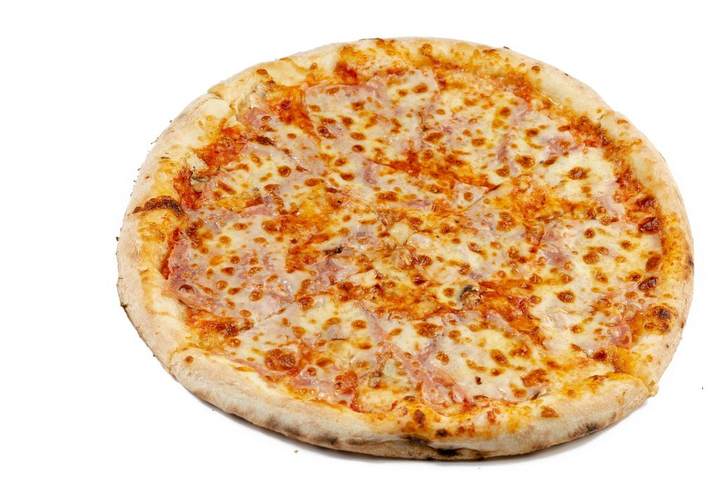 Round Fresh Pizza on the white background