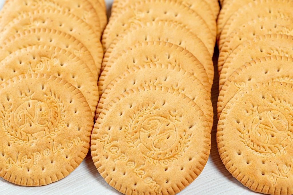 Round shaped cookies close up