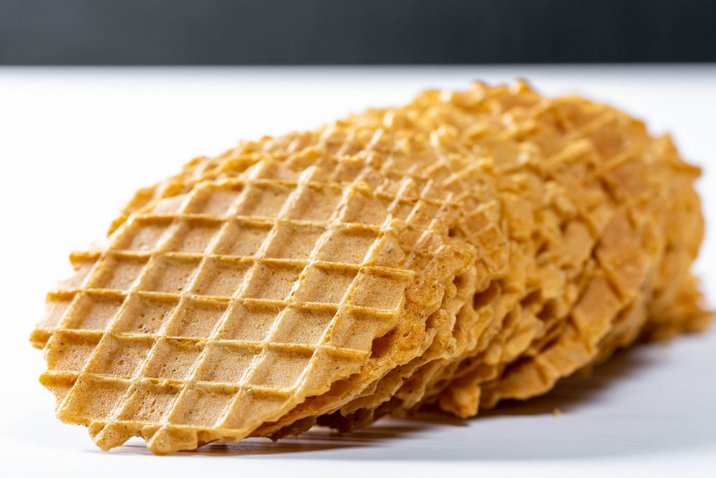 Round waffles without stuffing closeup