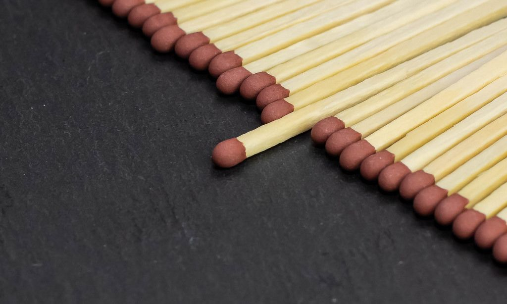 Row of match sticks