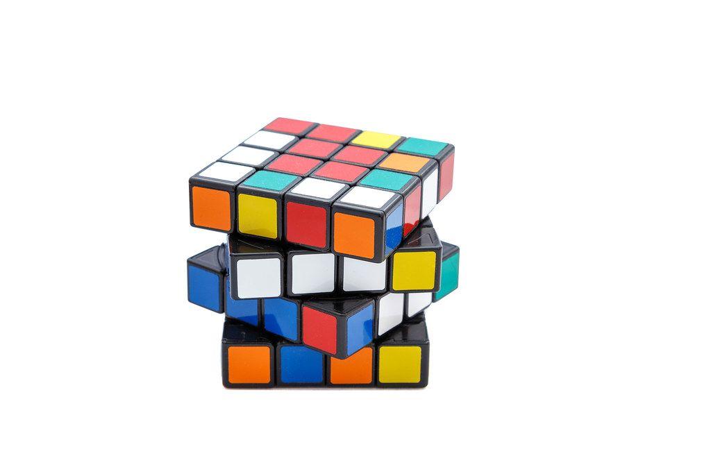 Rubik's cube 4x4x4 on white background with offset edges (Flip 2019)
