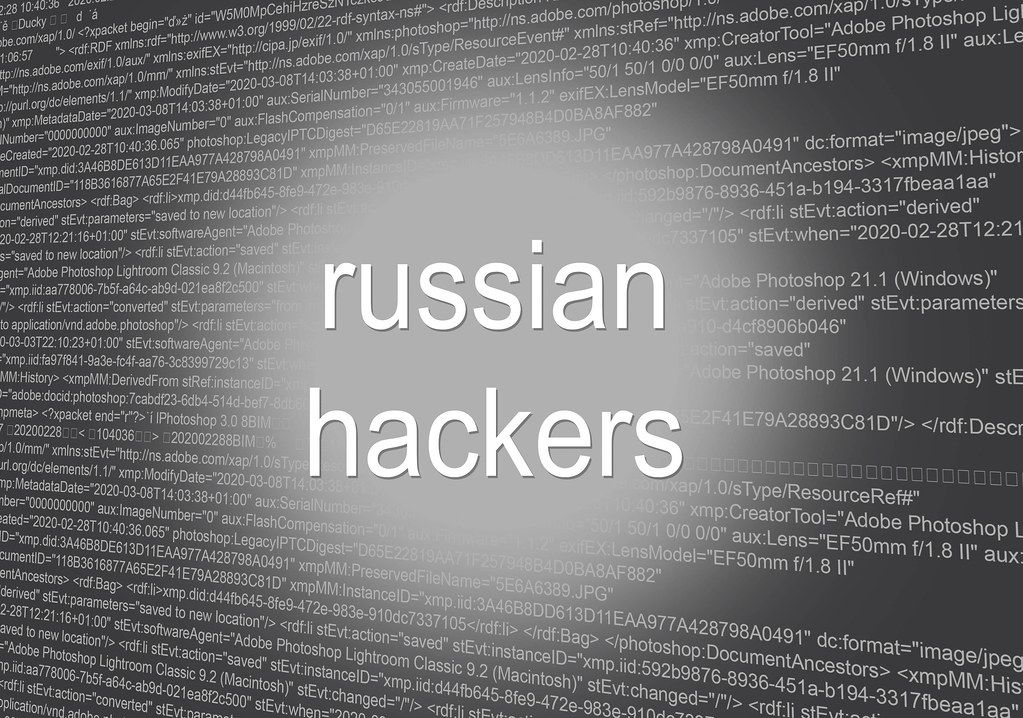 Russian hackers text over binary code background