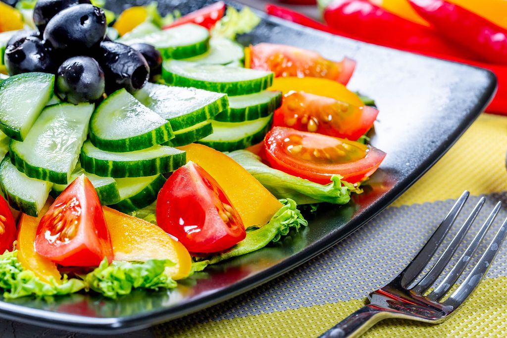 Salad with tomato pepper and cucumber, food close up