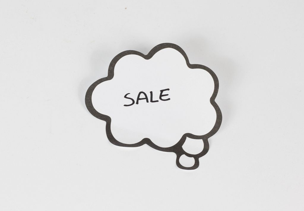 Sale written on a thought bubble