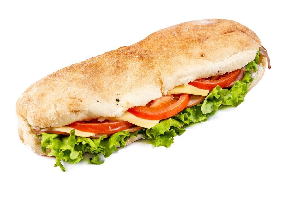 Sandwich with Lettuce Cheese Ham and Tomato on white background (Flip 2019)