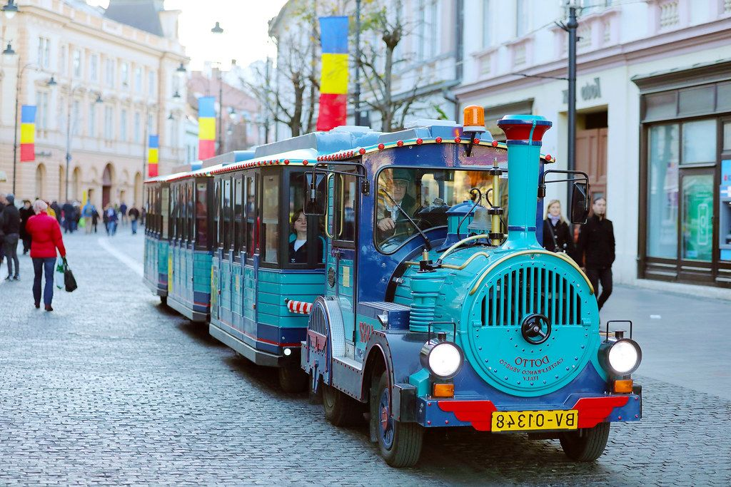 Santa Claus train for kids at Sibiu Christmas market, Romania (Flip 2019)