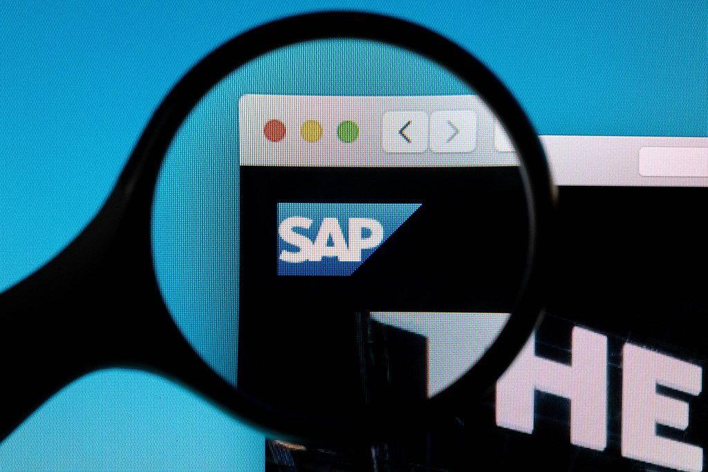 SAP logo under magnifying glass