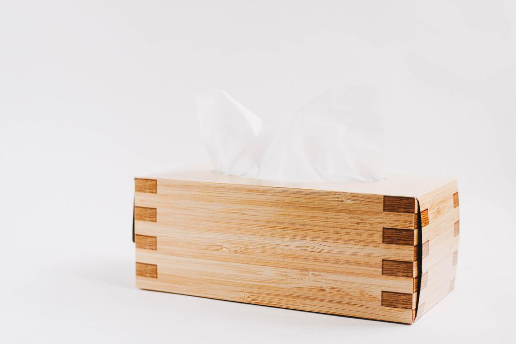 Schachtel mit Tissue-Papier vor weißem Hintergrund