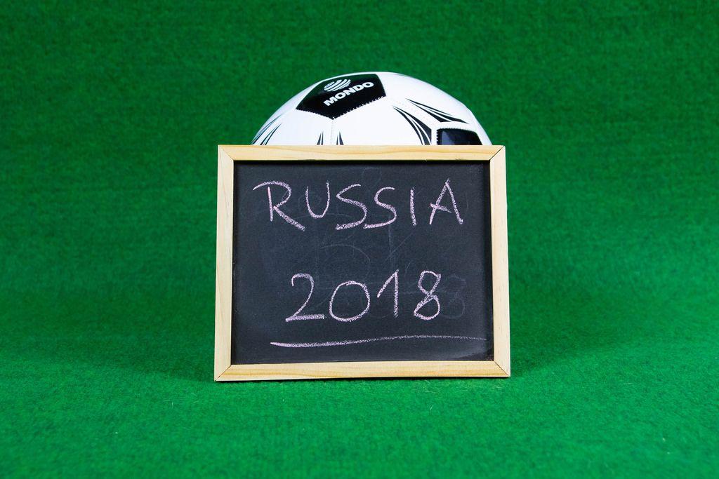 Schild mit Aufschrift Russia 2018