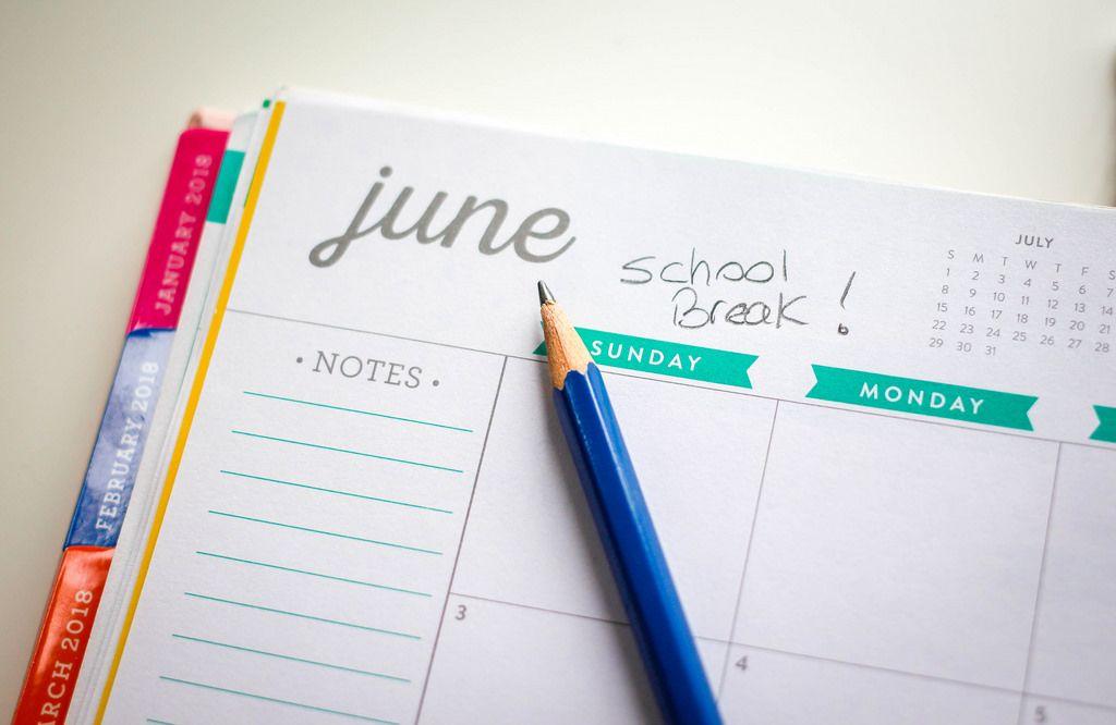 School Break Calendar With Blue Pencil