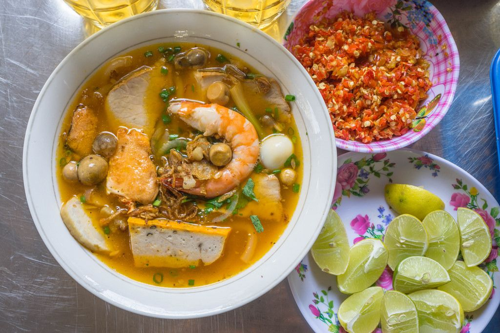 Sea Food Noodle Soup at famous Lunch Lady in Ho Chi Minh City