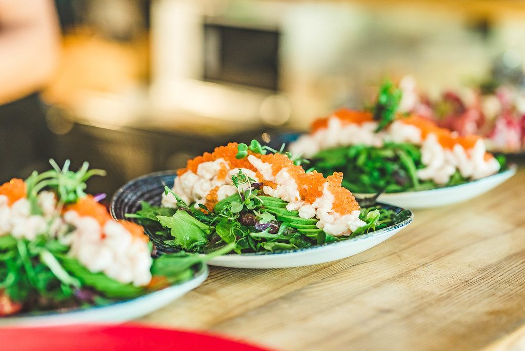 Seafood Salad With Salmon Cream and Fish eggs (Flip 2019)