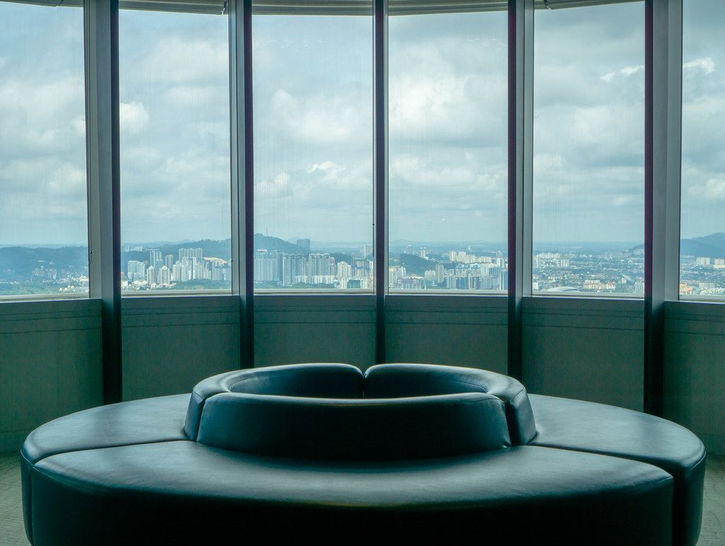 Seating Area of Observation Deck at Petronas Twin Towers in Kuala Lumpur