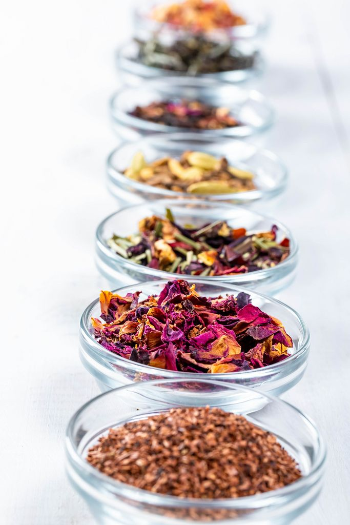 Set of teas from leaves and bark, with spices, fruits and flowers for gourmets