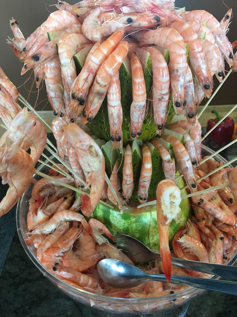 Shrimps und Melone