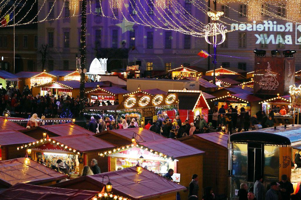 Sibiu Christmas fair seen from above (Flip 2019)