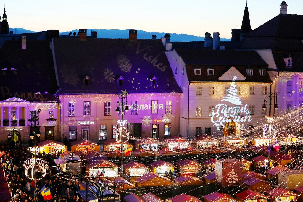 Sibiu Christmas market, view from above