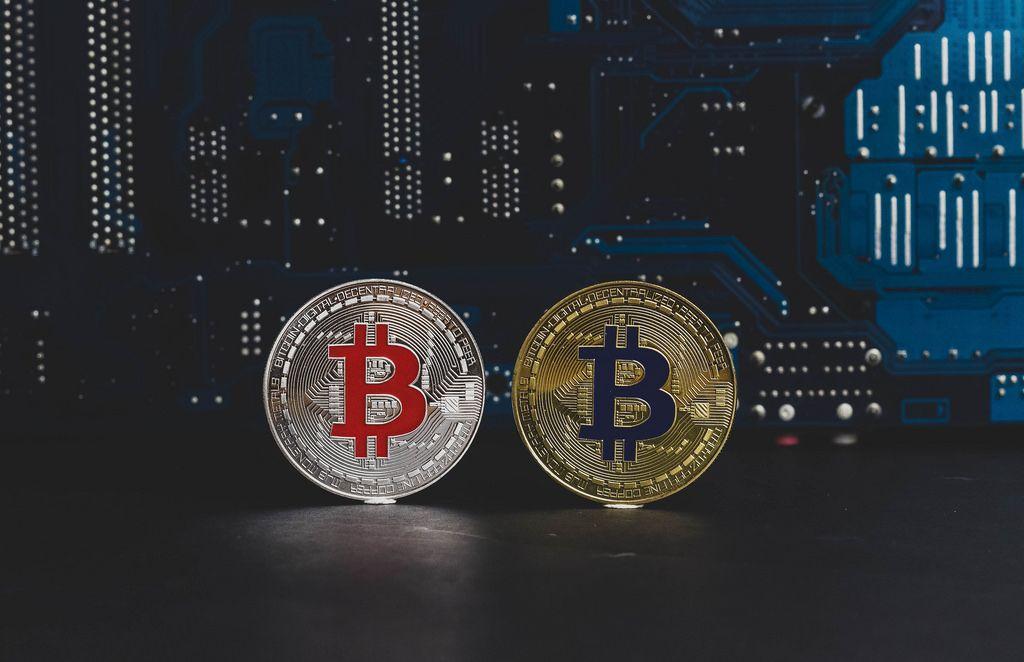 Silver and golden Bitcoin