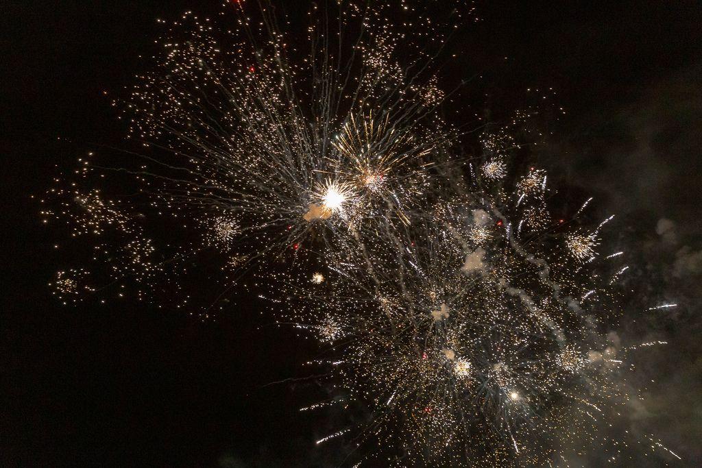 Silvesterraketen beleuchten den zu Neujahr den Himmel über Bloemendaal in den Niederlanden