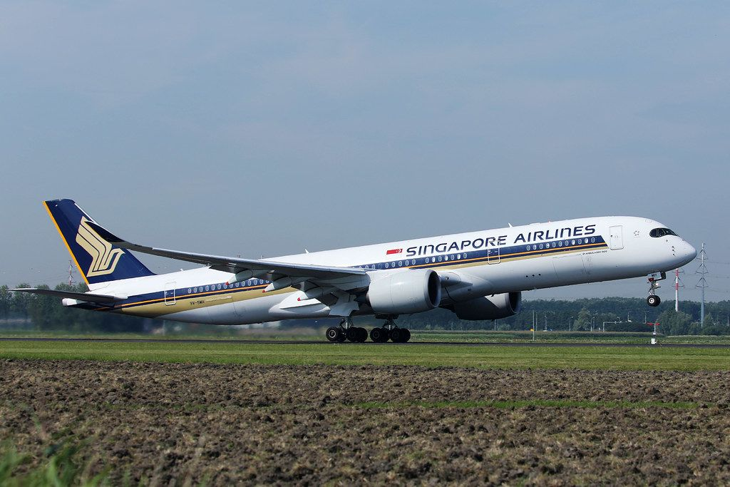 Singapore Airlines taking off from Amsterdam Airport AMS