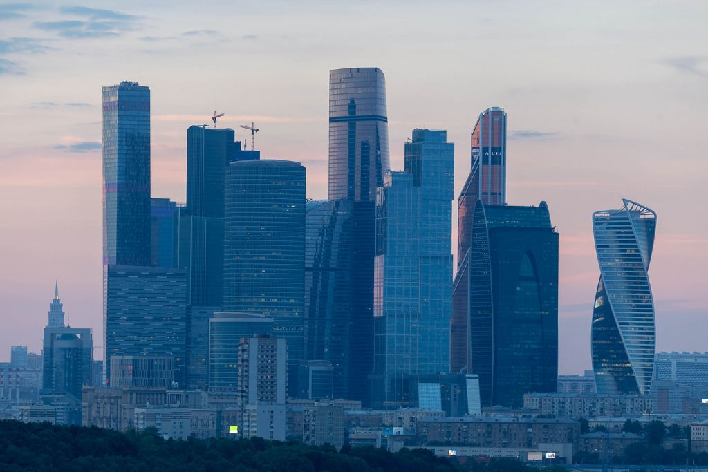 Skyline of Moscow at sunset