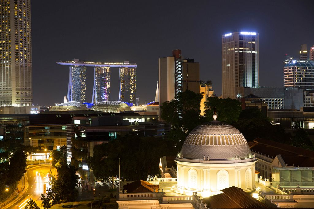 Skyline of Singapore with Marina Bay Sands Resort in the background