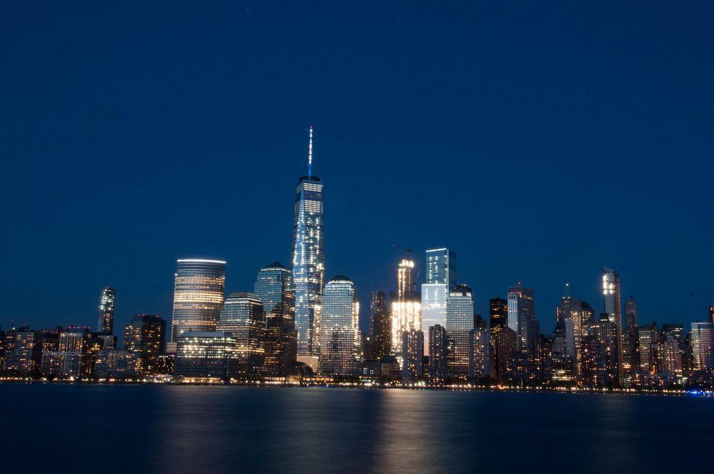 Skyline Von New York City Inklusive Freedom Tower Bei Nacht Usa
