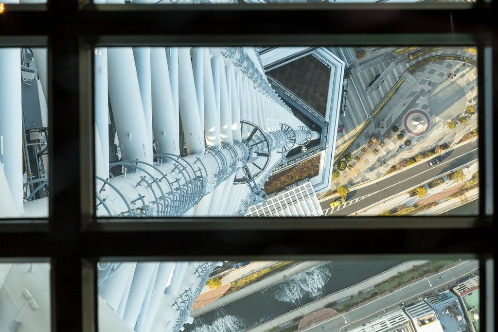 Skytree through a window