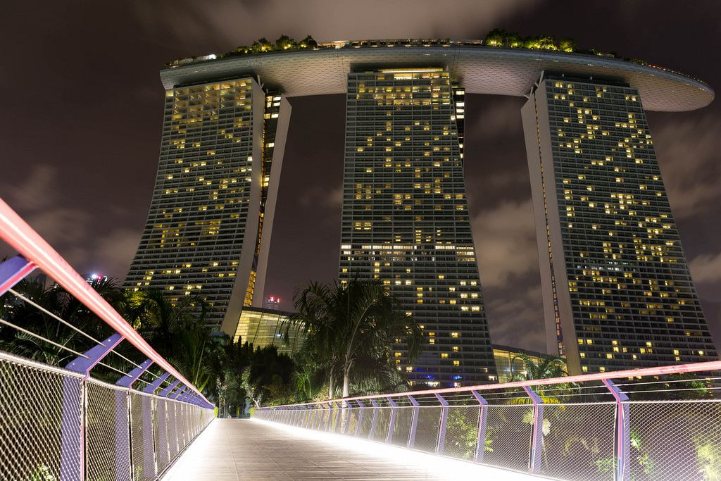 Skywalk to Marina Bay Sands at Night
