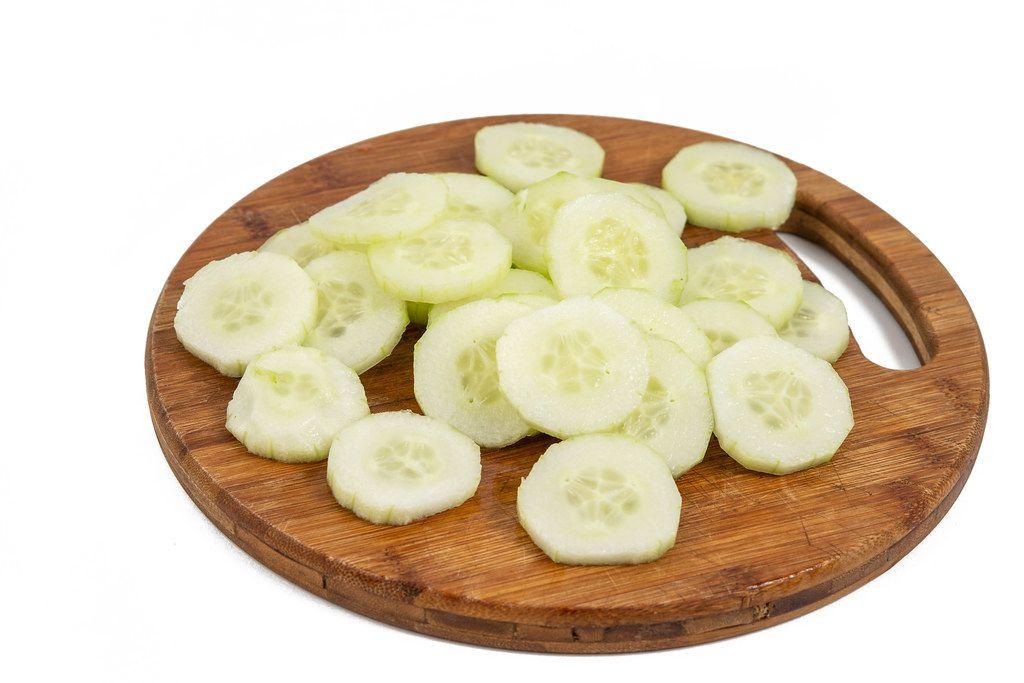 Sliced Cucumber on the cutting board
