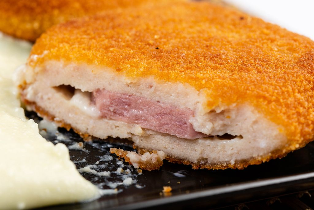 Sliced Fried Turkey Meat with Ham and Cheese