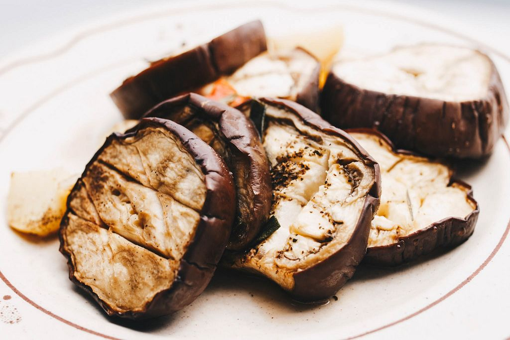 Slices of eggplant roasted in a grill