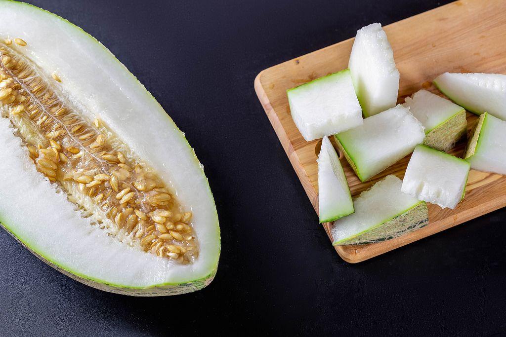 Slices of ripe melon. Fruit Background