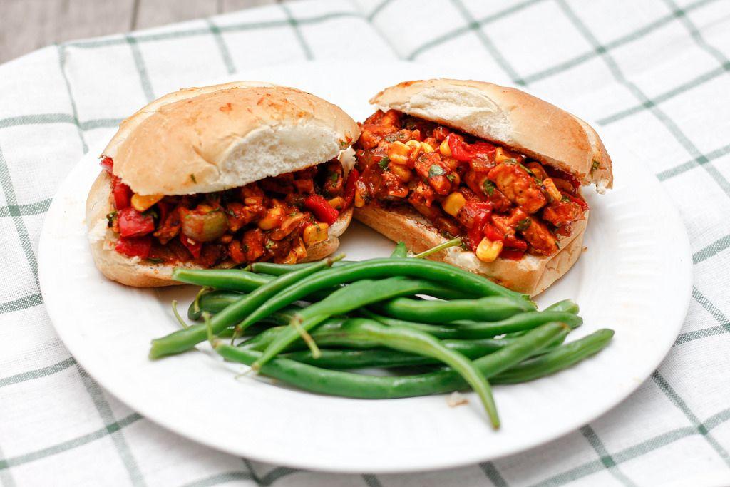 Sloppy Joe Hamburger mit Brechbohnen